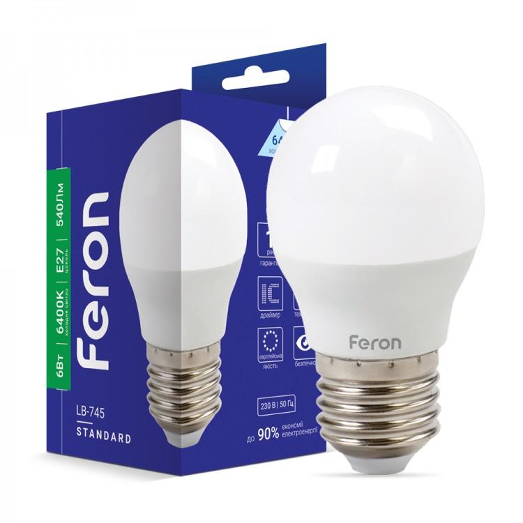 Світлодіодна лампа Feron LB-745 6W E27 6400K
