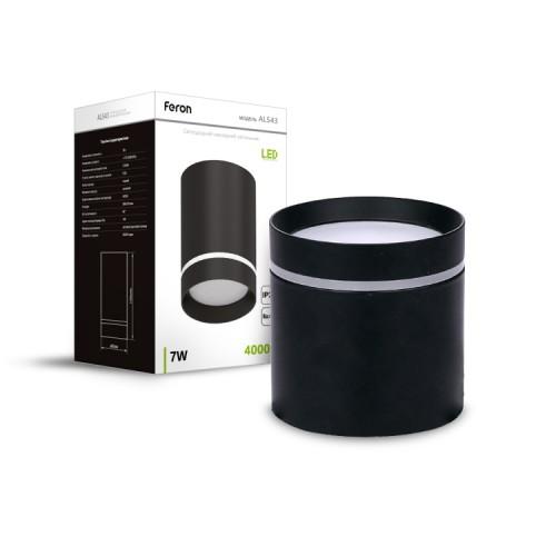 Накладной неповоротный светодиодный светильник Feron AL543 7W черный