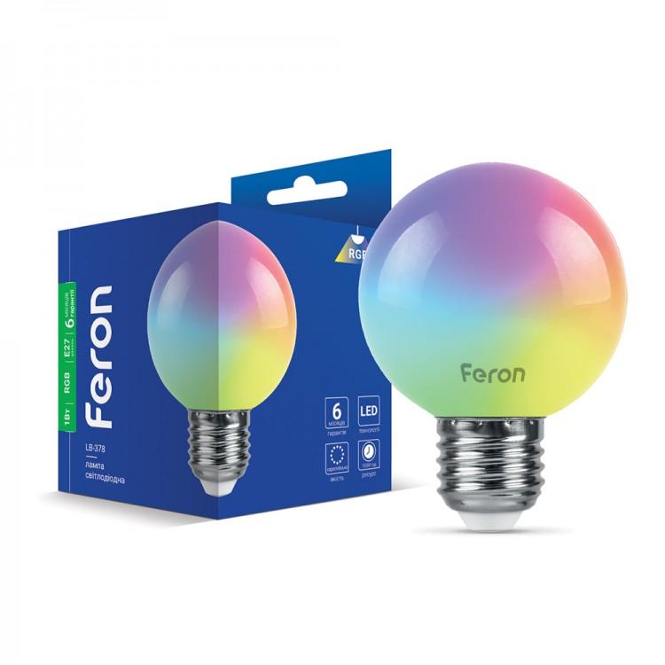 Светодиодная лампа Feron LB-378 1W E27 RGB