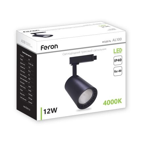 Трековий світильник Feron AL100 12W чорний
