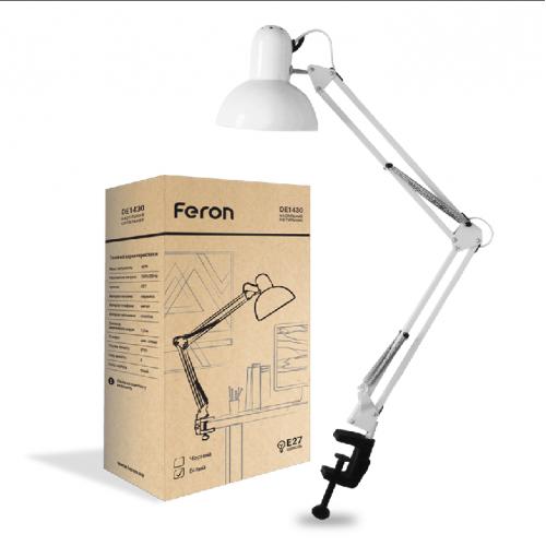 Настольный светильник Feron DE1430 на струбцине под лампу Е27