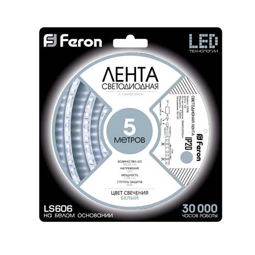 Светодиодная лента Feron SANAN LS606 30SMD/м 12V IP20 белый