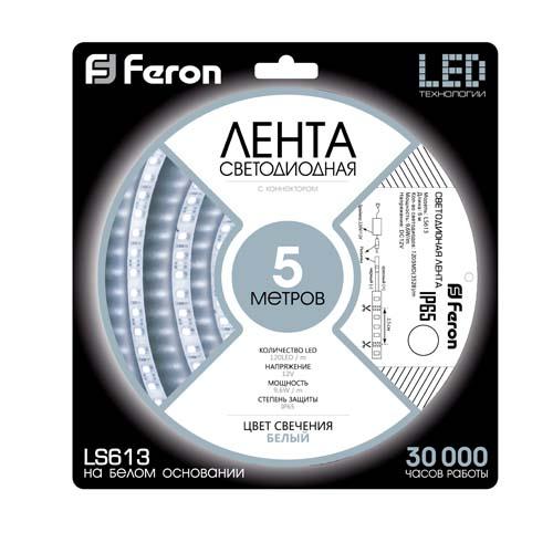 Светодиодная лента Feron SANAN LS613 120SMD/м 12V IP65 белый